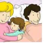 famiglia nel letto libri illustrati sonno bambini
