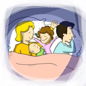 famiglia a letto libri per bambini