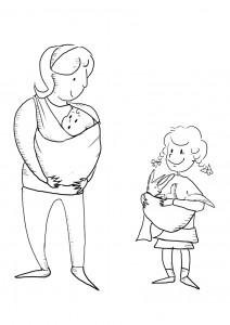 disegno da colorare letture ad alta voce sul portare i bambini
