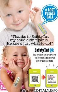 Per la sicurezza dei bambini il codice a barre tatuato