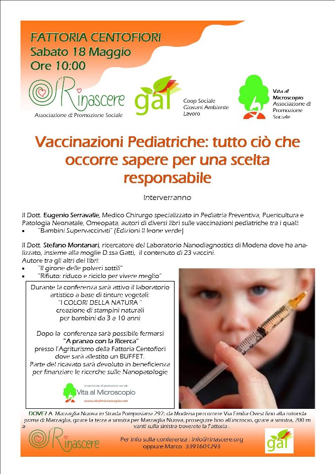 volantino incontro su vaccinare bambini